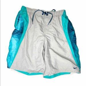 NIKE Swim Mesh Lined Swim Athletic Teal Shorts